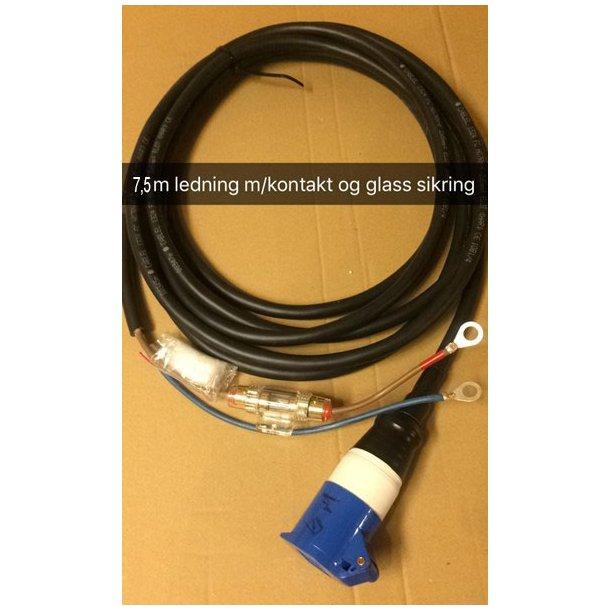 7,5 m ledning m/kontakt og glass sikring